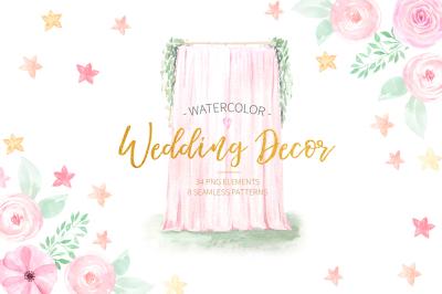 Watercolor Wedding Decor Set