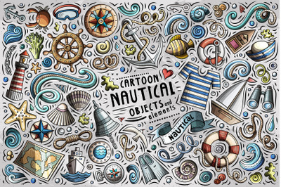 Nautical Cartoon Objects Set