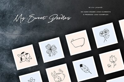 50 Hand Drawn Logo Elements