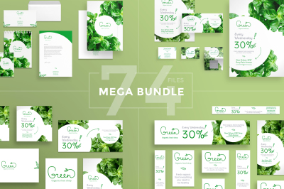 Design templates bundle | flyer, banner, branding | Organic Food Shop