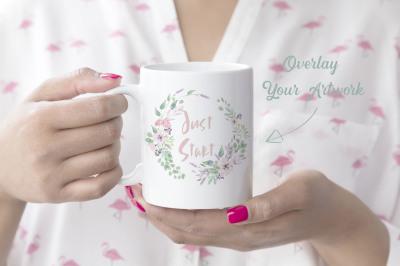 Woman holding mug mockup