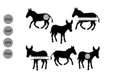 Donkey Svg, Donkey monogram svg, animal svg, farm animal svg, svg, dxf