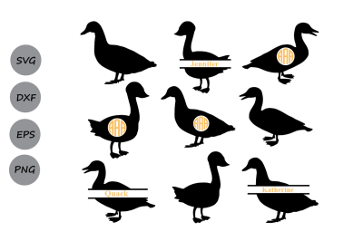 duck svg cut file, duck monogram frames, Farm svg, duck silhouette Svg