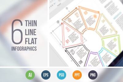 Line flat elements for infographic