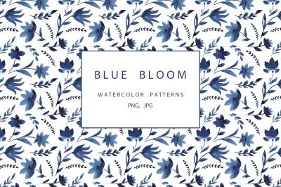 Blue watercolor floral patterns