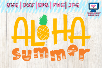 aloha summer svg, beach svg, pineapple svg