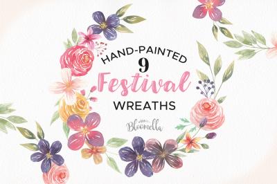 Festival Flower Wreaths Floral Garlands Summer Wedding Clipart