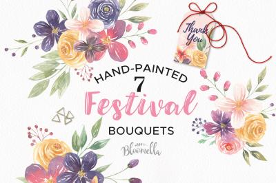 Watercolor Flower Pink Floral Spring Boho Festival Bouquet Set