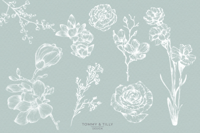 Hand Sketch Flowers Bundle - Clipart PNGs