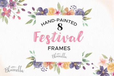 Festival Watercolor Frames Hand Painted Boho Wedding Clipart Borders