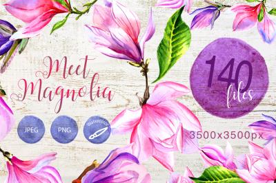 Meet magnolia PNG watercolor flower set