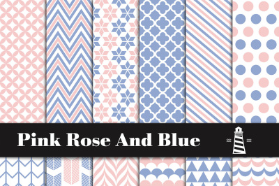 Pink Rose And Blue Patterns