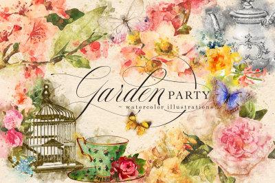 Garden Party Watercolor Graphics