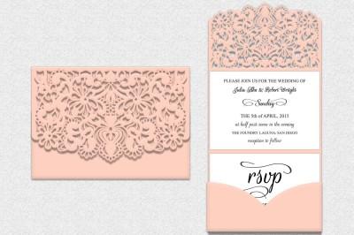 Tri Fold Lace pocket envelope, Tri Fold, Wedding Invitation Envelope