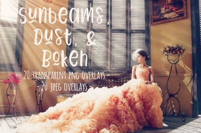Sunbeams, dust and bokeh overlays