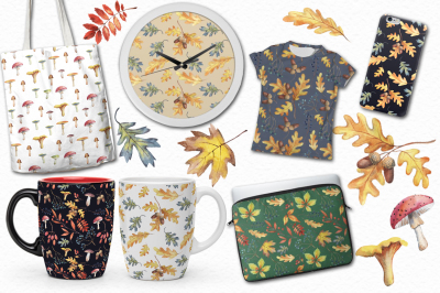 Watercolor Autumn patterns