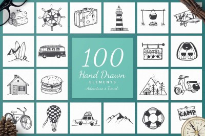 100 Hand Drawn Elements -Adventure-