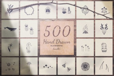 500 Hand Drawn Elements -Bundle-