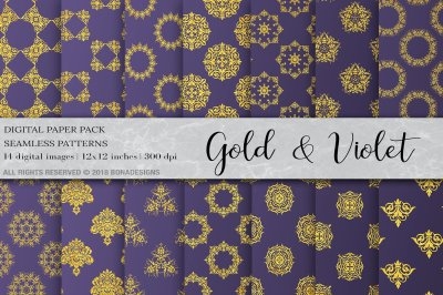 Gold Violet Damask Digital Paper