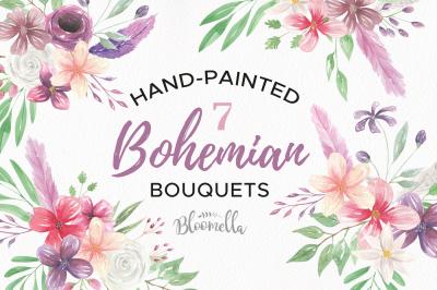 Bohemian Watercolor Flowers Floral Purple Feathers Boho Bouquets