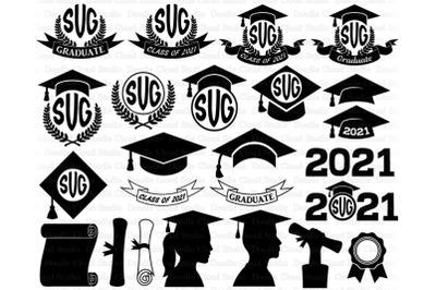 2021 Graduation Monogram SVG, Graduation Hat svg, Graduate SVG.