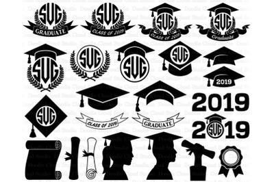 Graduation Monogram SVG, Graduation Hat svg, Graduate SVG Files.