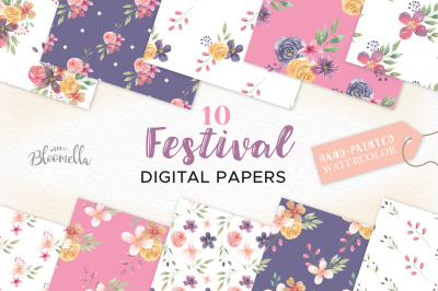 Festival Watercolor Digital Papers Floral Flowers Patterns Purple