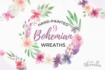 Bohemian Flower Wreaths Garlands Floral Purple Wedding Clipart Set
