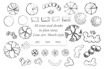 Set of 32 trees and shrubs in plan view. Sketch style. Line-art.