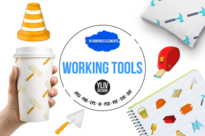 Working tools illustrations and graphics