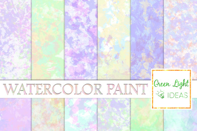 Watercolor Paint Digital Papers, Pastel Watercolor Textures