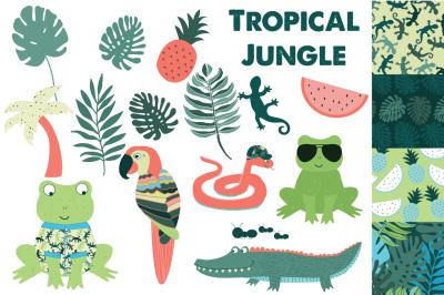 Jungle Clipart, Tropical Clipart, Boys Clipart Set, Jungle