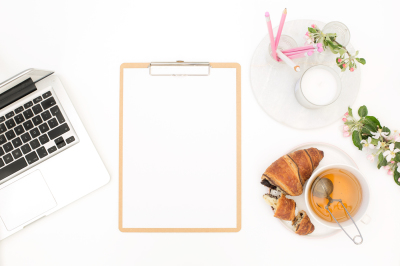 Styled stock photo - flatlay apple blossoms clipboard mockup