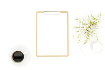 styled stock photo - white flower flatlay with clipboard mockup