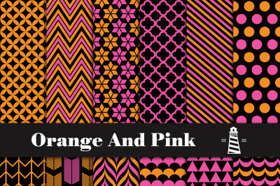 Pink And Orange Digital Paper