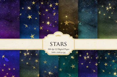 Star & Gold Watercolor Textures
