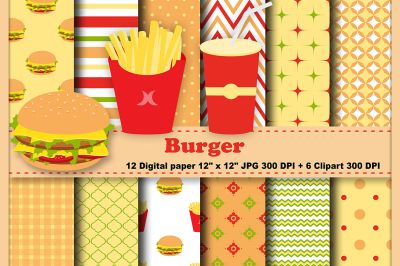 Burger Digital Paper, Fast Food Pattern, Hamburger Pattern, Background