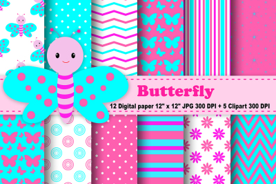 Butterfly Digital Paper, Rainbow Butterflies, spring digital paper.