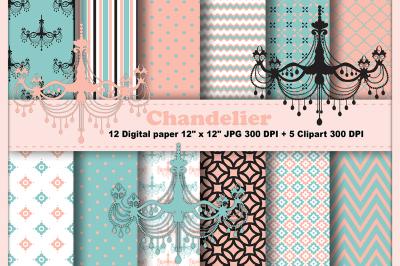 chandelier digital paper,  Vintage Digital Paper, Elegant patterns.