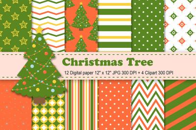 Christmas Digital Paper, Christmas Tree Digital Paper, holiday pattern
