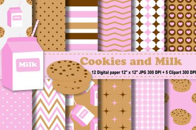 Milk and Cookies Digital Paper, Chocolate Chip Cookies patterns.