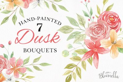 Watercolor Dusk Clipart Bouquets Flowers Warm Red Summer Florals