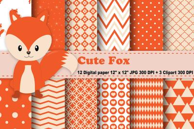 Fox Digital paper, Woodland animals patterns, Animals Background.