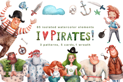 I Love Pirates! - Watercolor Clip Art Set