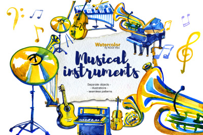 Watercolor musical instruments set