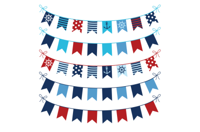 Red blue nautical bunting clipart, Marine birthday banner clip art