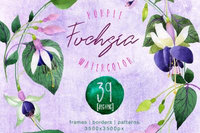 Purple fuchsia PNG watercolor flower set