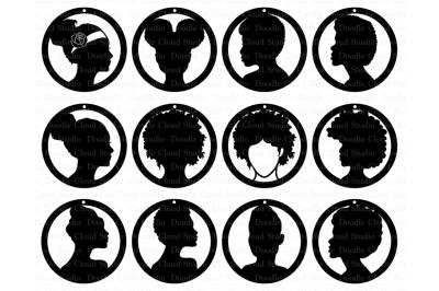 Afro Lady Earrings SVG, Earrings Girl SVG files