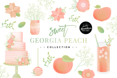 Sweet Georgia Peach Clipart Graphics & Paper Patterns Bundle