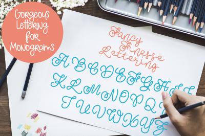 Fancy Finesse Lettering Monogram Font